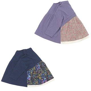 LIBERTY×接結天竺 バック切替長袖Tシャツ(130〜150cm)