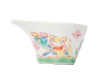 九谷焼ミルチュウ 花と猫 銀舟窯