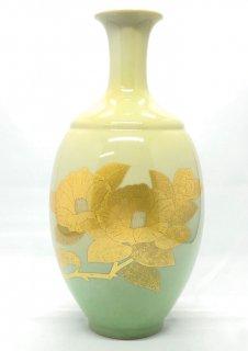 人間国宝 吉田美統作・8号花瓶 釉裏金彩椿文