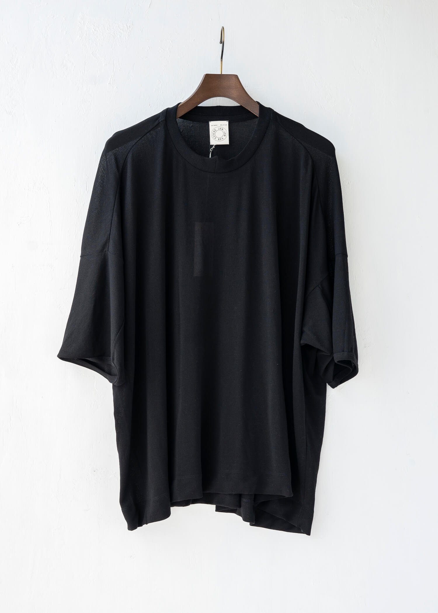 JAN-JAN VAN ESSCHE / TEE#60 WIDE FIT T-SHIRT BLACK WA/CO JERSEY