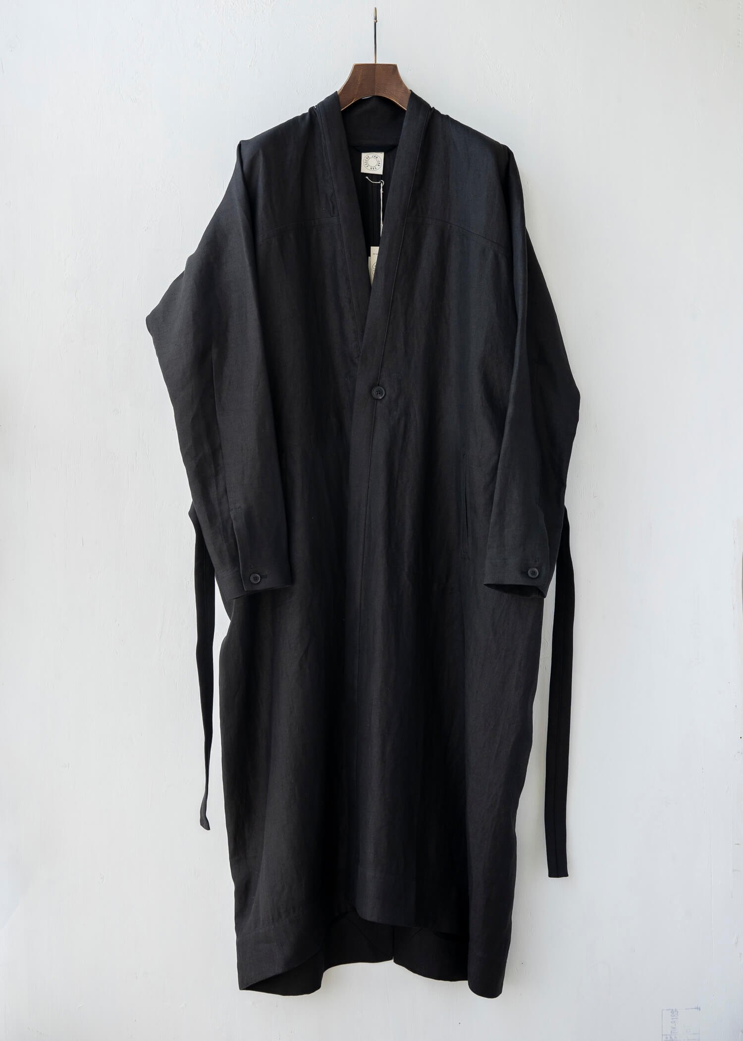 JAN-JAN VAN ESSCHE / COAT#23 SUMMER TRENCH COAT BLACK HEMP TWILL