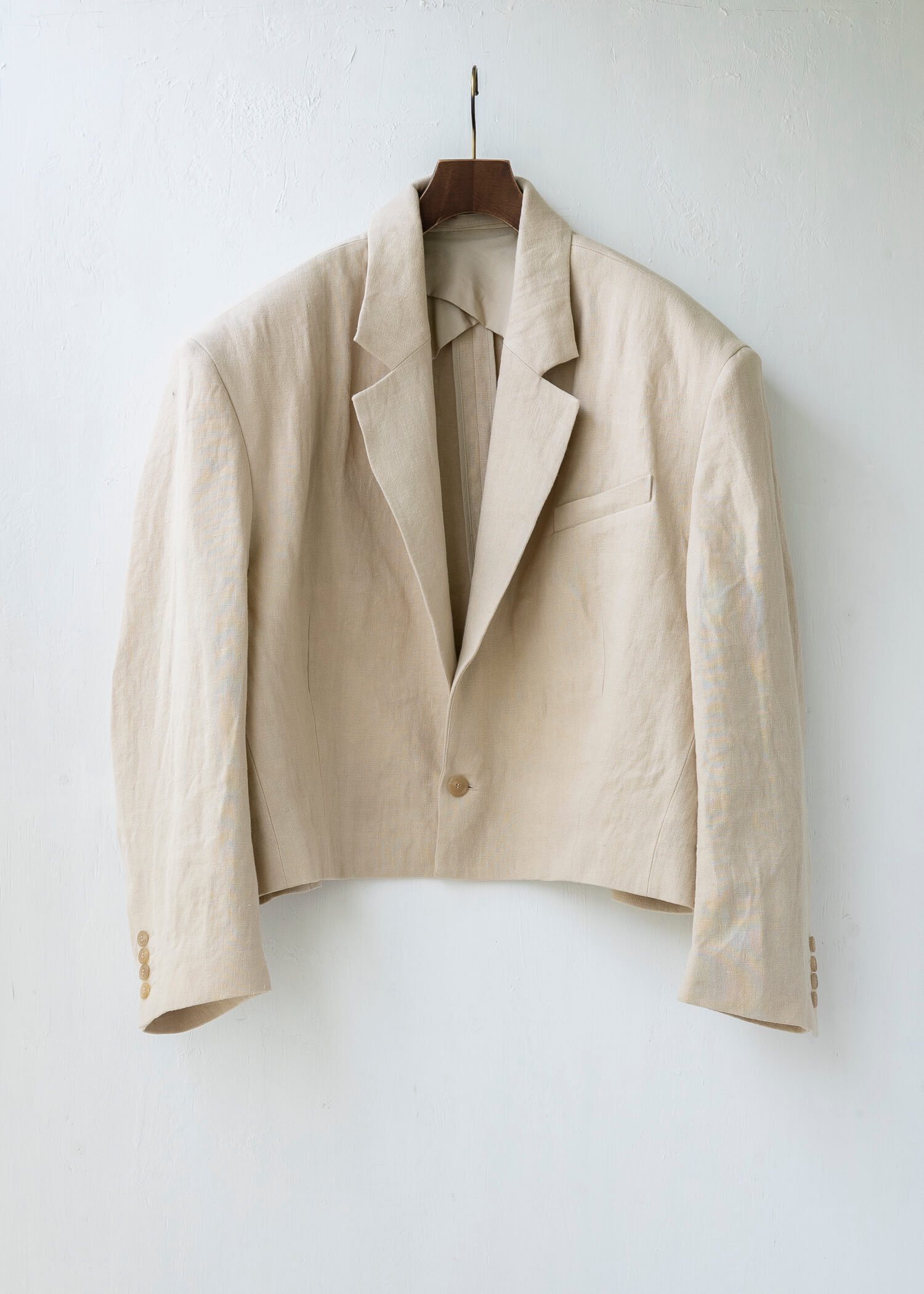 HED MAYNER /  HMJ201_BEG/LIN CROPPED SINGLE BREASTED JACKET