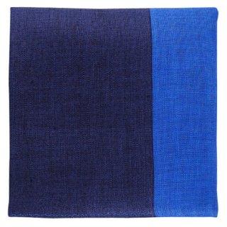 手刺繍の似顔絵ハンカチ「ツートンリネン(ネイビー×ブルー)」