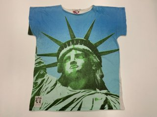 80s Picture Print T-shirt 【the statue of Liberty】