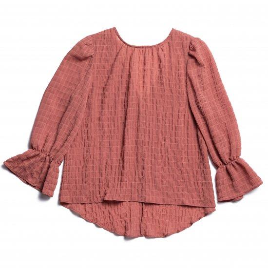 Shirring Puff Sleeve Blouse(Pink)