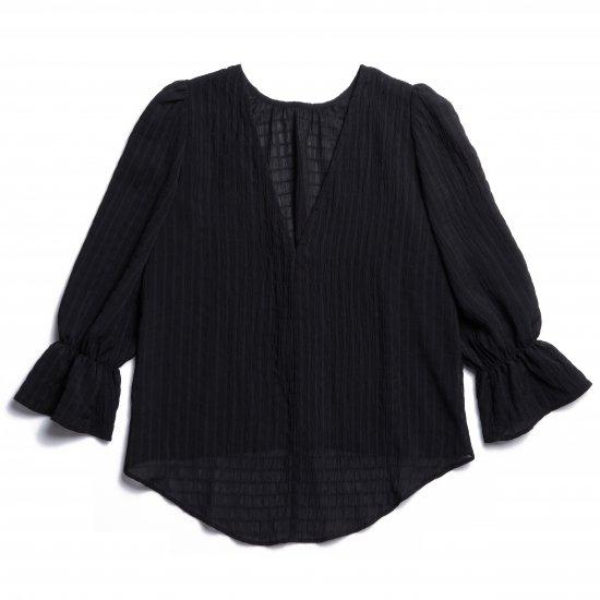 Shirring Puff Sleeve Blouse(Black)