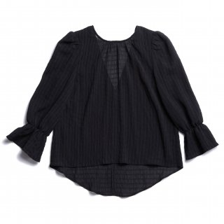 AMYER - Shirring Puff Sleeve Blouse(Black)