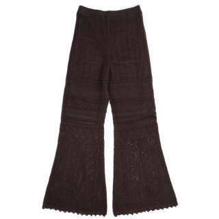 AMYER - Crochet Knit Pants(Brown)