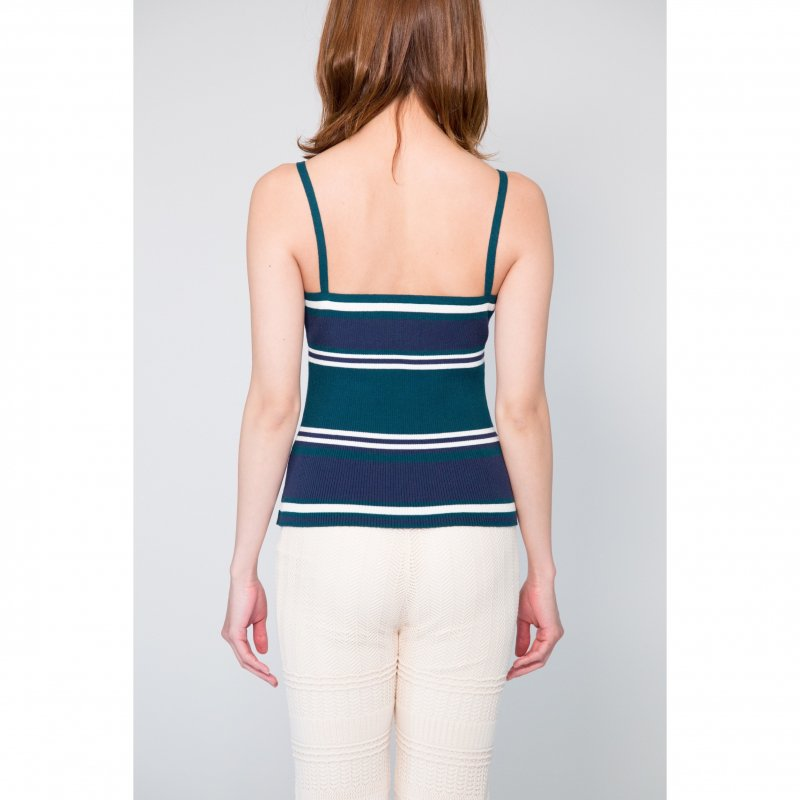 Rib Knit Camisole(Green × Navy)<img class='new_mark_img2' src='https://img.shop-pro.jp/img/new/icons20.gif' style='border:none;display:inline;margin:0px;padding:0px;width:auto;' />