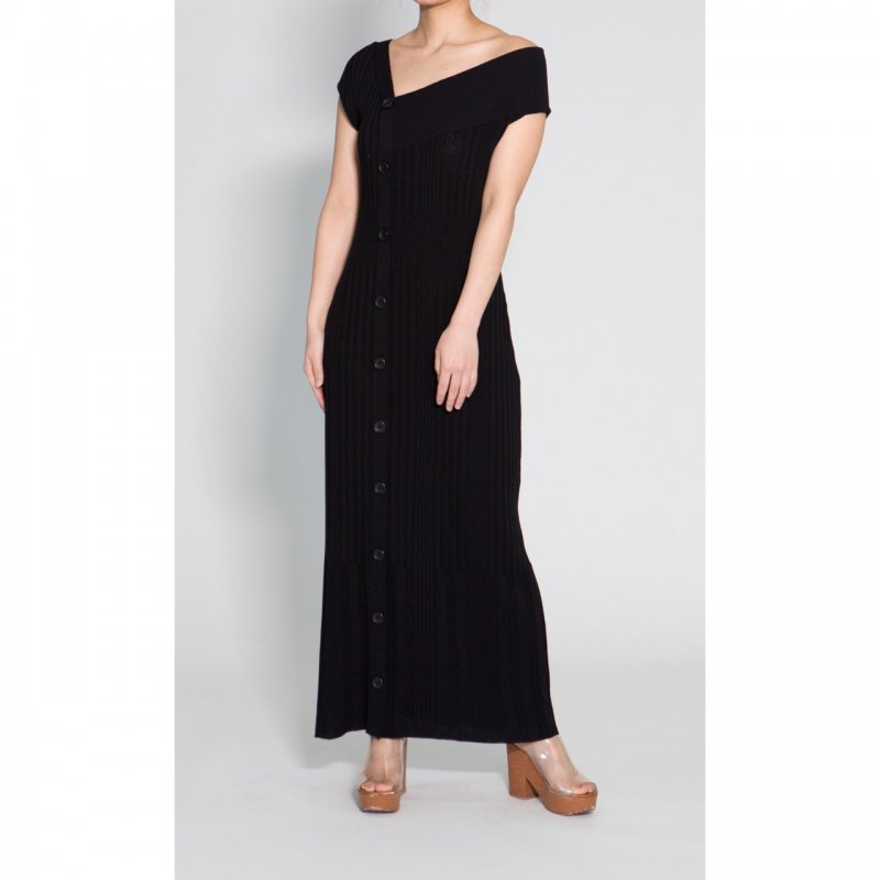 Asymmetry Knit One-Piece(Black)<img class='new_mark_img2' src='https://img.shop-pro.jp/img/new/icons20.gif' style='border:none;display:inline;margin:0px;padding:0px;width:auto;' />