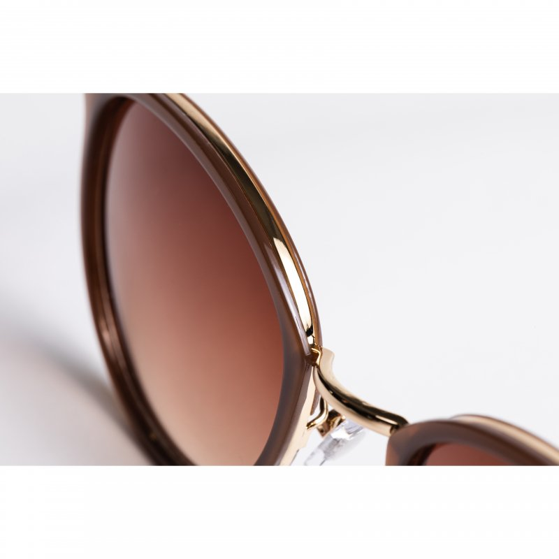 Gold Frame Brown Sunglasses