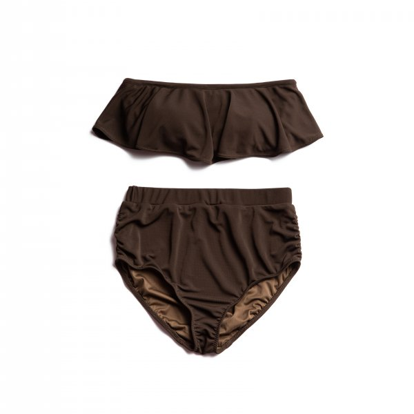 AMYER - Frill High-waist Bikini(Brown)
