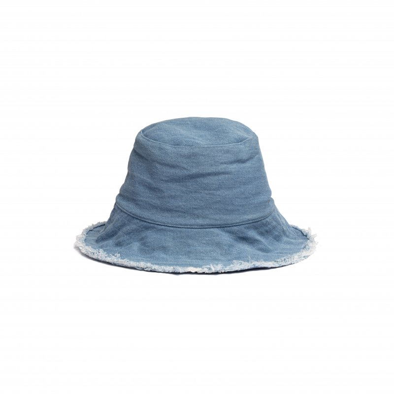 Fringe Denim Bucket Hat