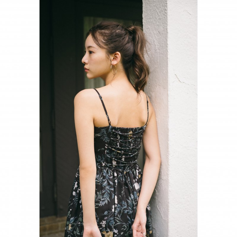 Flower Maxi Cami Dress(Black)