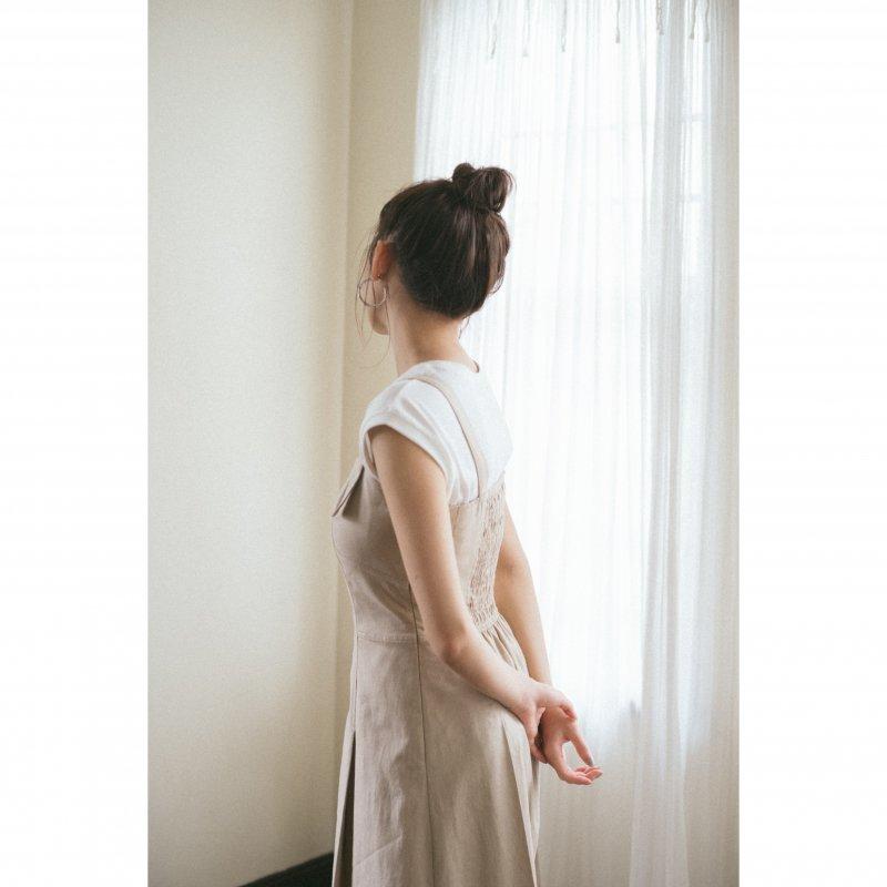 Linen Mix Jumper Skirt(Beige)