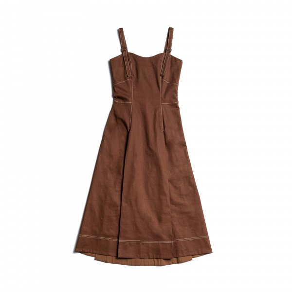 AMYER - Linen Mix Jumper Skirt(Brown)