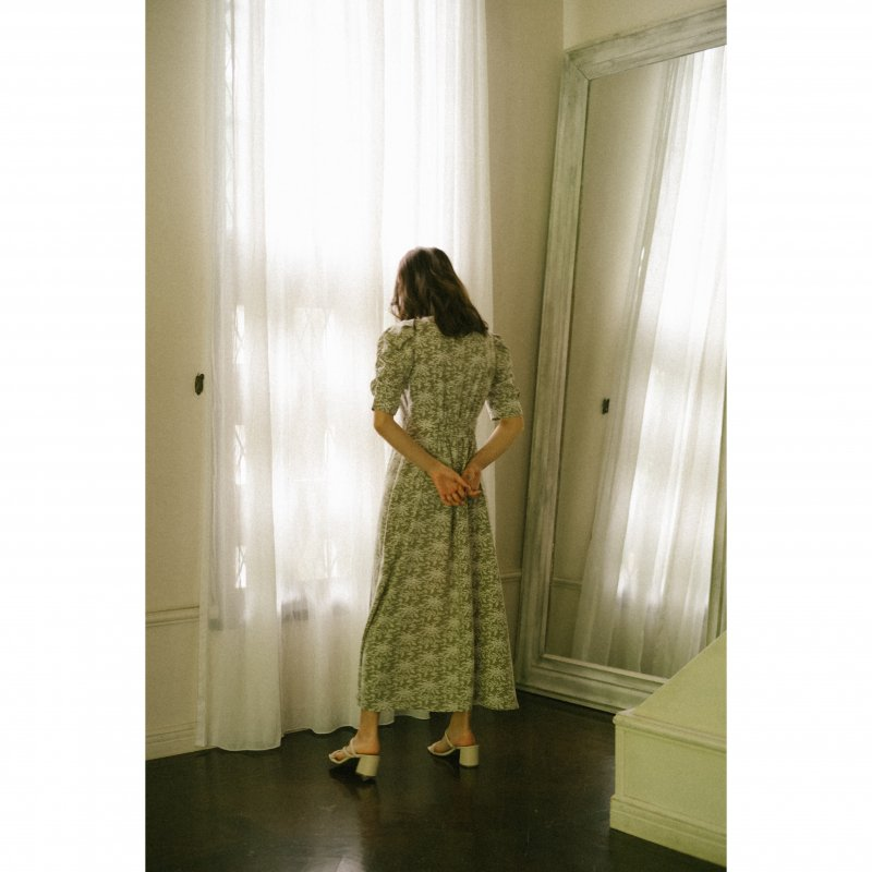Small Flower Gather Sleeve One-Piece(Green)