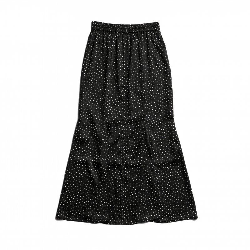 Dot Print Mermaid Skirt(Black)