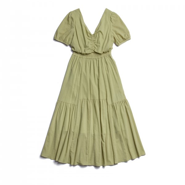 AMYER - Back Ribbon Cotton Maxi Dress(Olive)