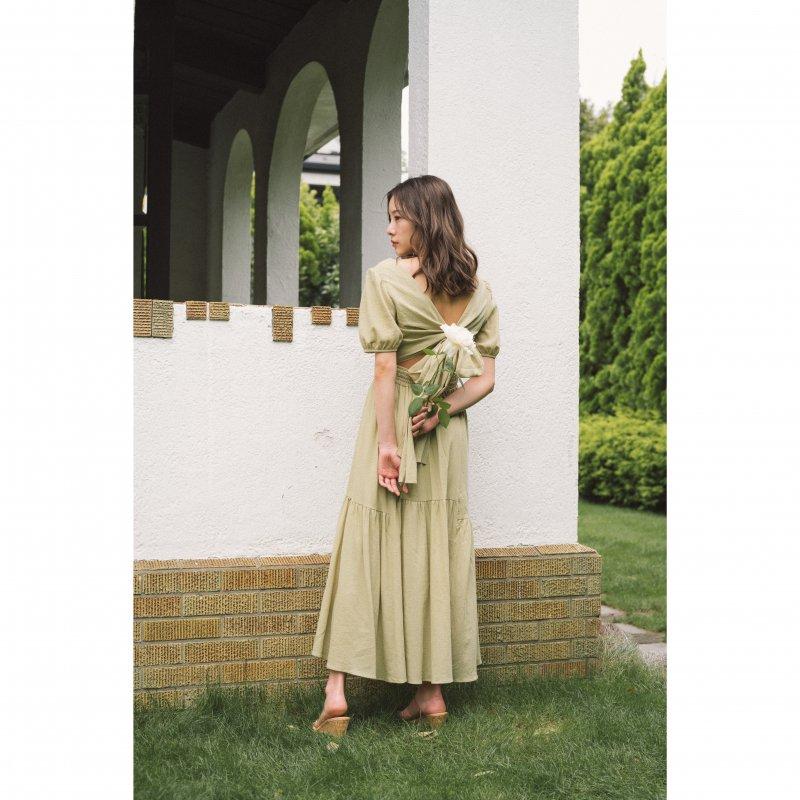 Back Ribbon Cotton Maxi Dress(Pink Beige)