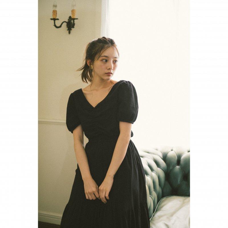 Back Ribbon Cotton Maxi Dress(Black)