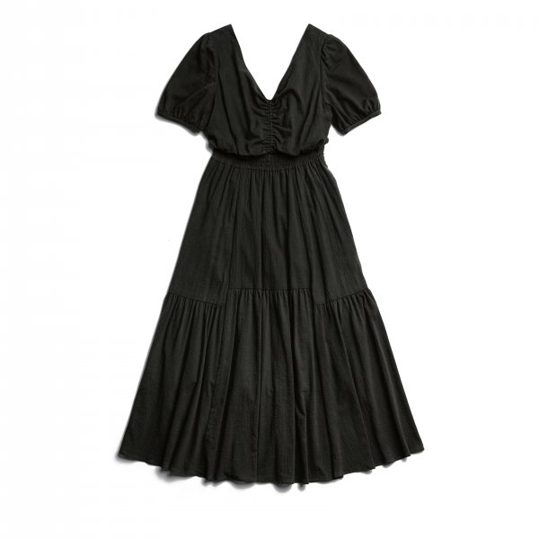 AMYER - Back Ribbon Cotton Maxi Dress(Black)