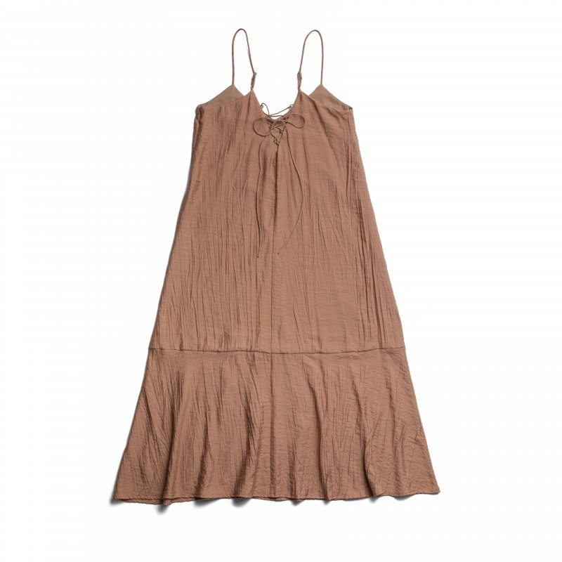 Back Lace-Up Camisole One-Piece(Brown)