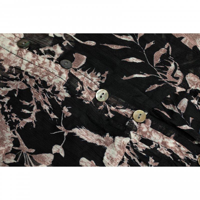 Flower Chiffon Pleated One-piece(Black)