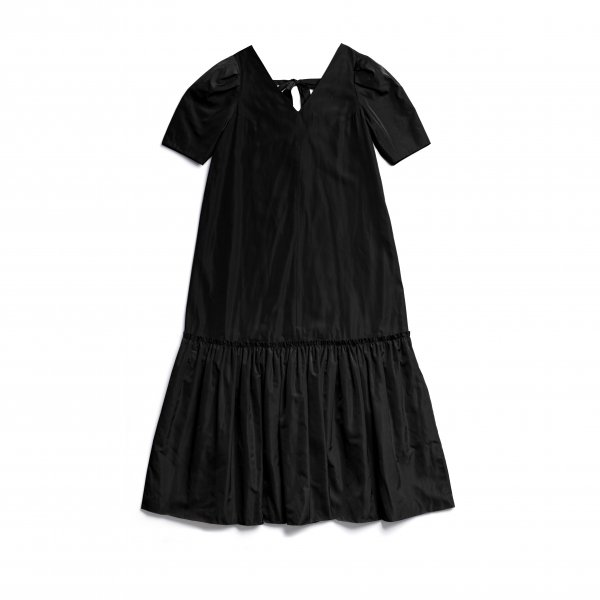 AMYER - Back Ribbon Taffeta Maxi Dress(Black)