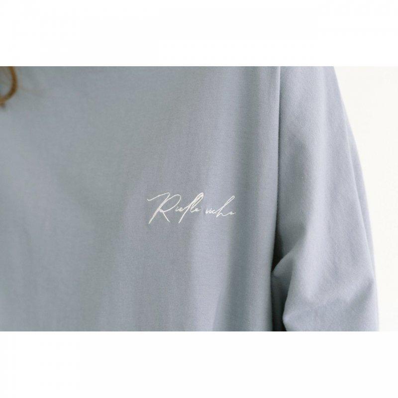 Embroidery Logo Long Sleeve TEE(Sax)
