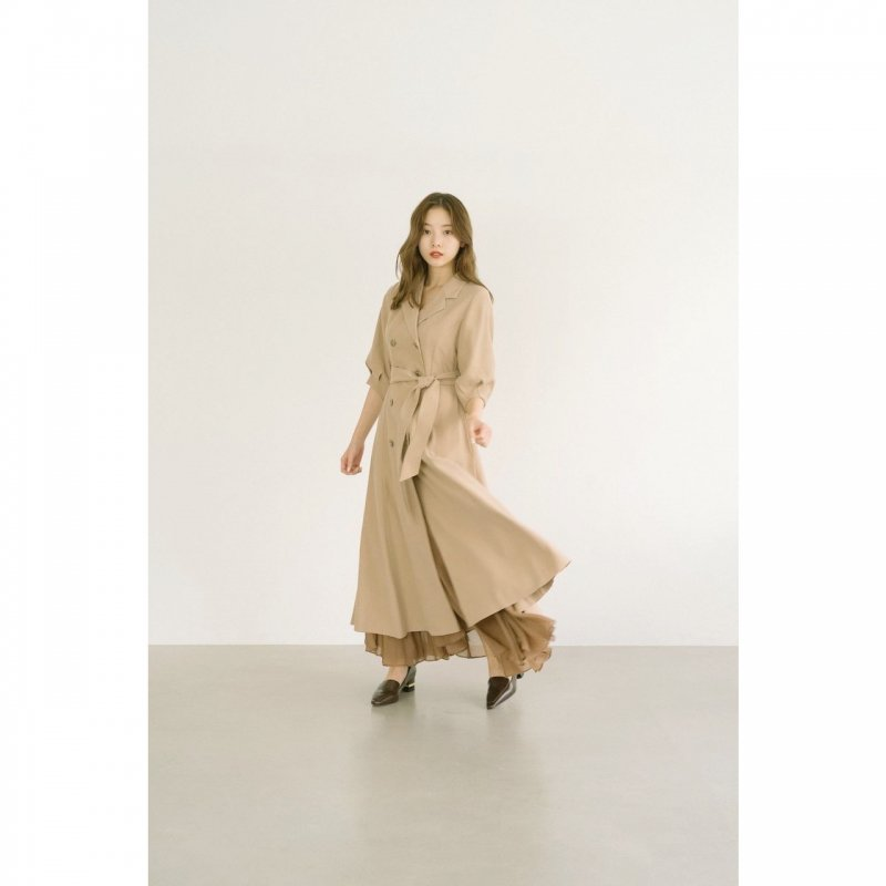 Airy Flare Maxi Skirt(Brown)