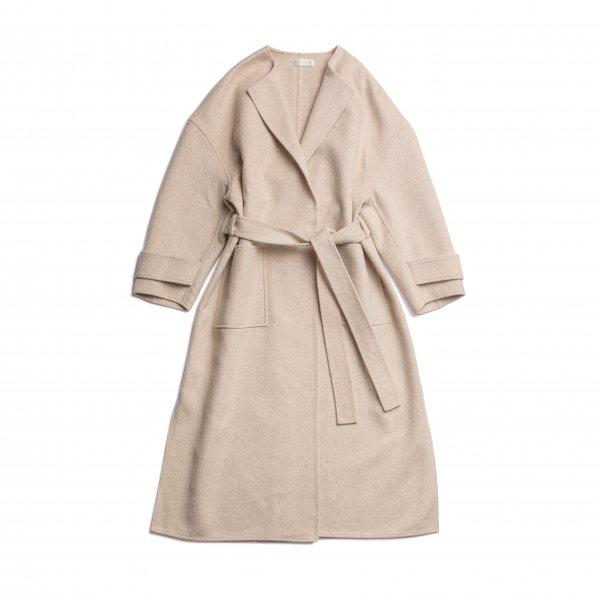 AMYER - No Collar Gown Coat(Beige)