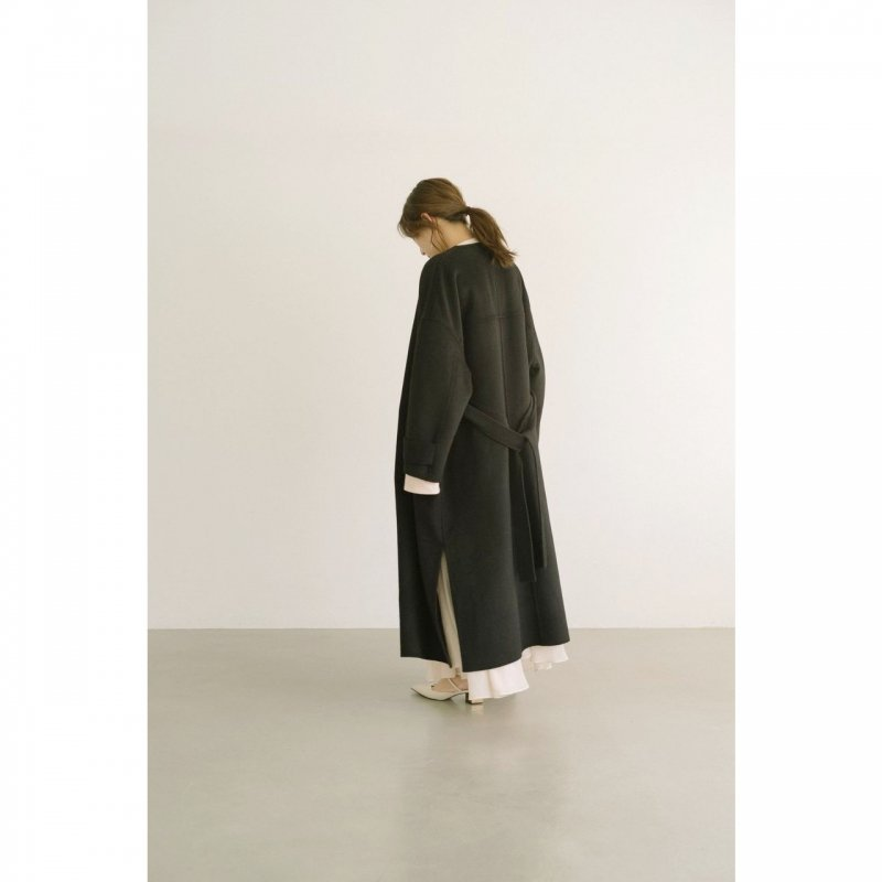 No Collar Gown Coat(Black)