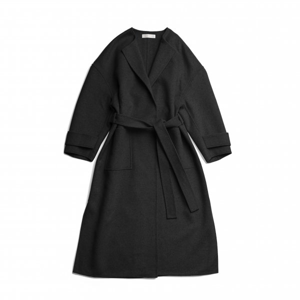 AMYER - No Collar Gown Coat(Black)