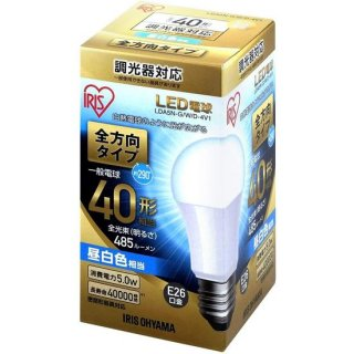 LED電球 E26 調光 全方向 昼白色40形(485lm)<img class='new_mark_img2' src='https://img.shop-pro.jp/img/new/icons61.gif' style='border:none;display:inline;margin:0px;padding:0px;width:auto;' />