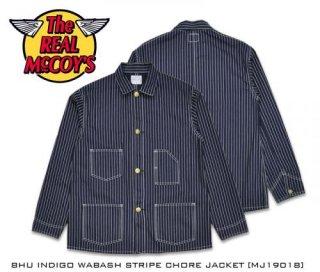 【The REAL McCOY'S/ザ・リアルマッコイズ】ジャケット/ MJ19018 8HU INDIGO WABASH STRIPE CHORE JACKET