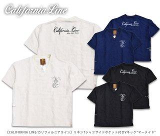 【CALIFORNIA LINE/カリフォルニアライン】リネンTシャツサイドポケット付きVネック