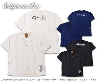 【CALIFORNIA LINE/カリフォルニアライン】リネンTシャツサイドポケット付きヘンリーネック