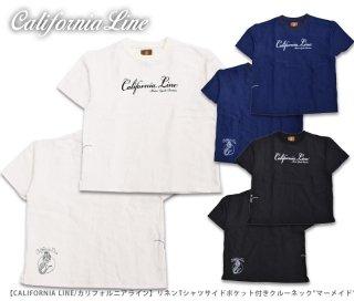 【CALIFORNIA LINE/カリフォルニアライン】リネンTシャツサイドポケット付きクルーネック