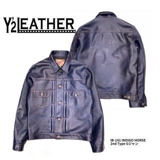 【Y'2 LEATHER/ワイツーレザー】レザージャケット/ IB-141 INDIGO HORSE 2nd Type Gジャン
