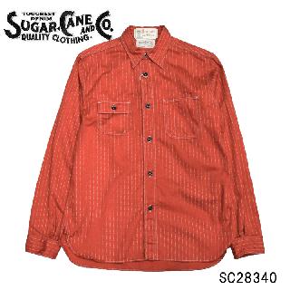 【SUGAR CANE/シュガーケーン】 SC28340 FICTION ROMANCE8.5oz. RED WABASH STRIPE WORK SHIRT