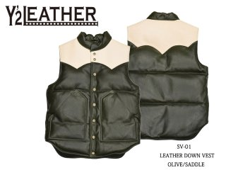 【Y'2 LEATHER/ワイツーレザー】ベスト/SVー01:LEATHER DOWN VEST OLV/SDL