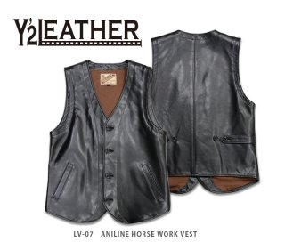 【Y'2 LEATHER/ワイツーレザー】レザーベスト/ LV-07  ANILINE HORSE WORK VEST