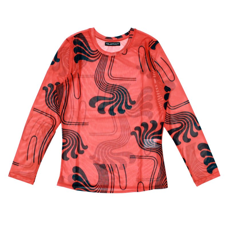 DRAGON TAIL MESH TOP 【SCARLET/NAVY】