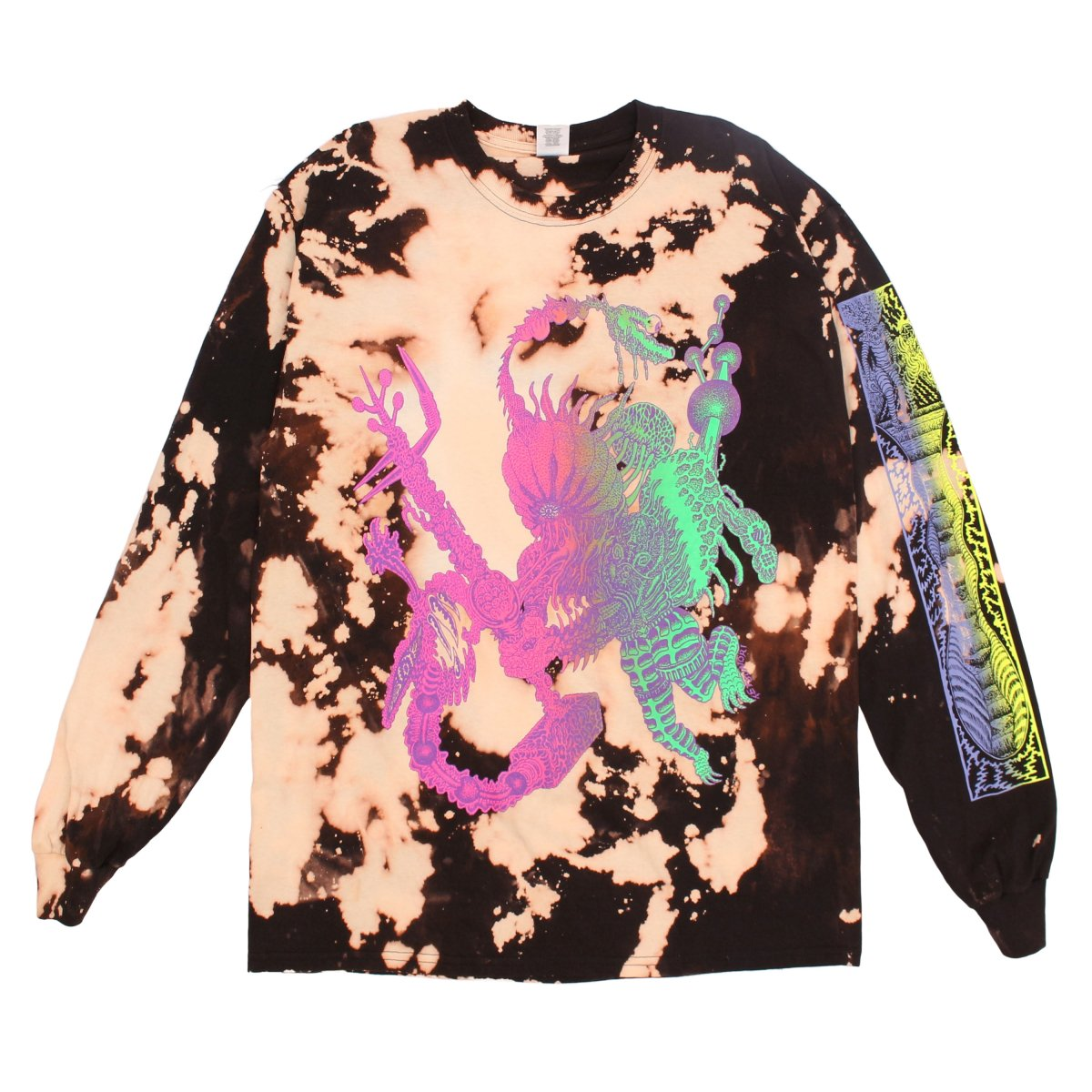 Heartbeat long sleeve bleach【BLACK】