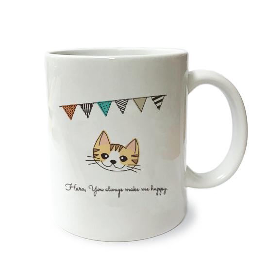ネコさんマグM・フラグ「短毛・茶トラ白多」