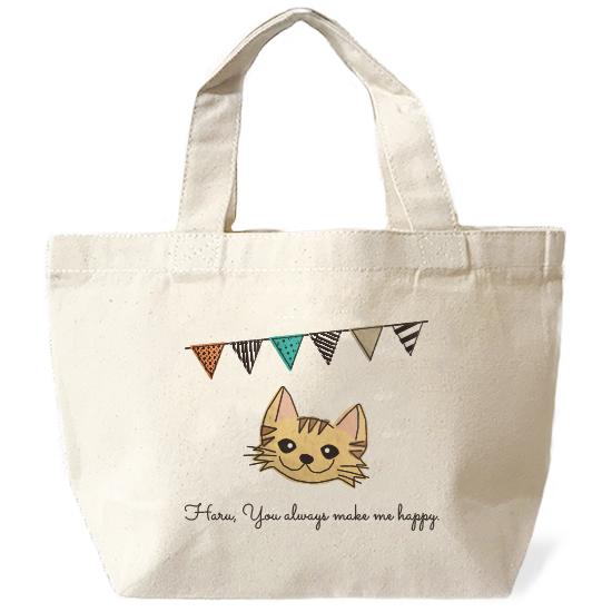 ネコさんバッグ・フラグ「長毛・茶トラ」