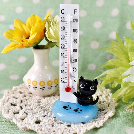 【ガラス細工】温度計クロネコ