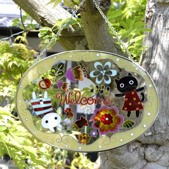 【ガラス細工】ステンドフレームおとぎの森猫たちウェルカム楕円