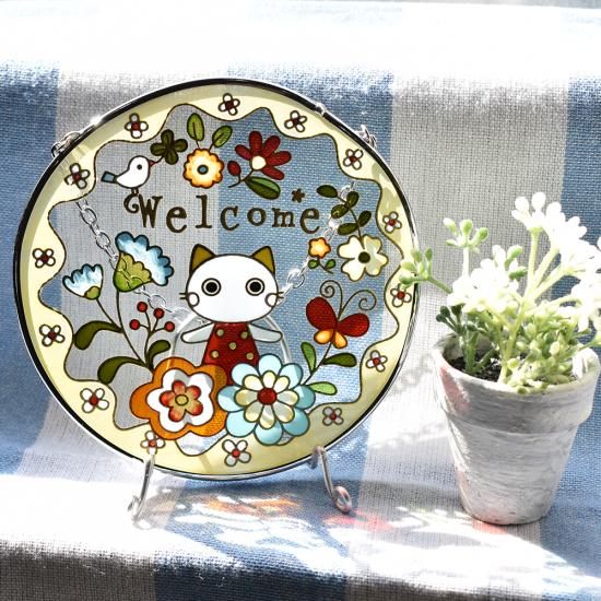 【ガラス細工】ステンドフレームおとぎの森シャム猫ウェルカム丸